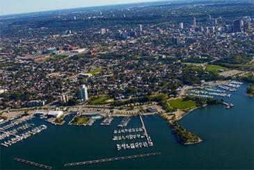 Beautiful view of Hamilton, Ontario's - Pier 8. the yacht club, and the Hamilton Mountain.